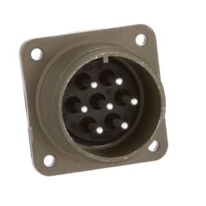 connector; metal circ; box recept; class a; size 20; 7 #12 solder pin cont; olive drab
