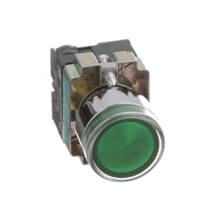 Pushbutton; LED Illuminated; Flush Operator; Green; Momentary; 22mm; 110VAC