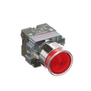 Pushbutton; LED Illuminated; Flush Operator; Red; Momentary; 22mm; 24VAC/VDC