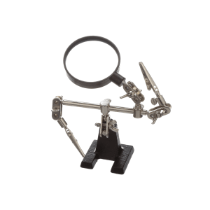 HELPING HAND TOOL WITH MAGNIFYING GLASSALLIGATOR SPRING HOLDING CLIPS CAST IRON