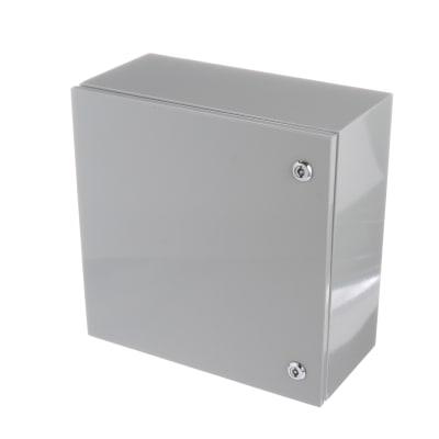 Bud Industries SNB-3737 Junction Box; Steel; Hinged; 1//4 Turn Latch; Gray; 15.75