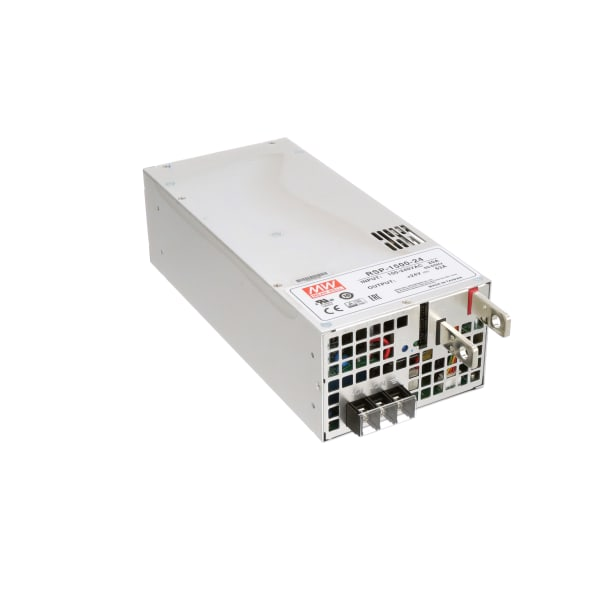 Power Supply,AC-DC,24VDC@62.5A, 12VDC@0.1A,100-264V In,Enclosed,PFC,RSP Series