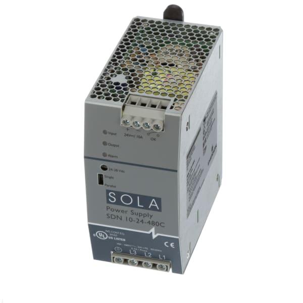 Power Supply, AC-DC, 24V, 10A, 320-540 VAC 3-Ph, Enclosed, SDN Series