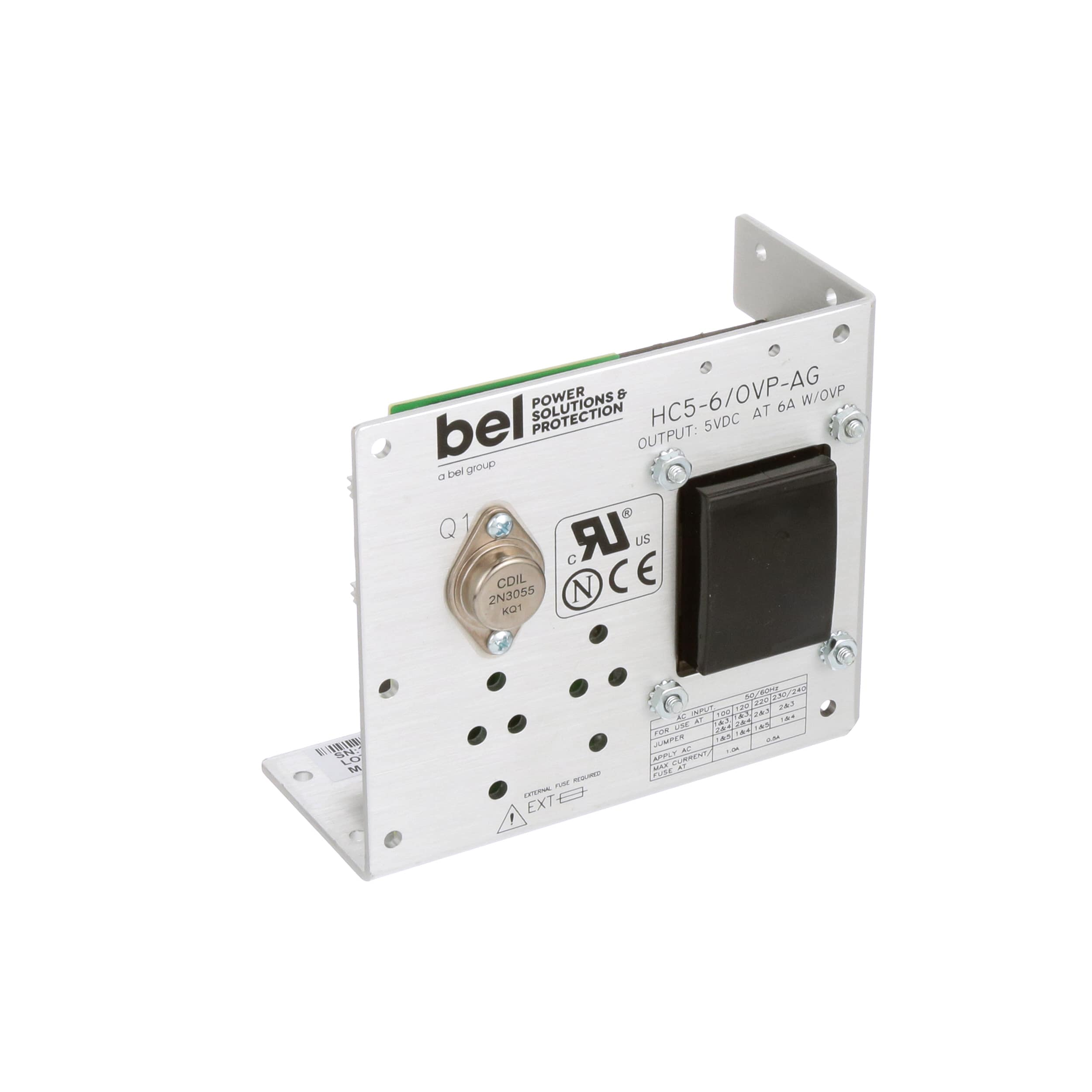 Bel Power Solutions Hc5 6 Ovp Ag Supply Ac Dc 5v 6a And 12v Using 2n3055 Lm309 100 264v In Open Frame Panel Mount Linear Series Allied Electronics