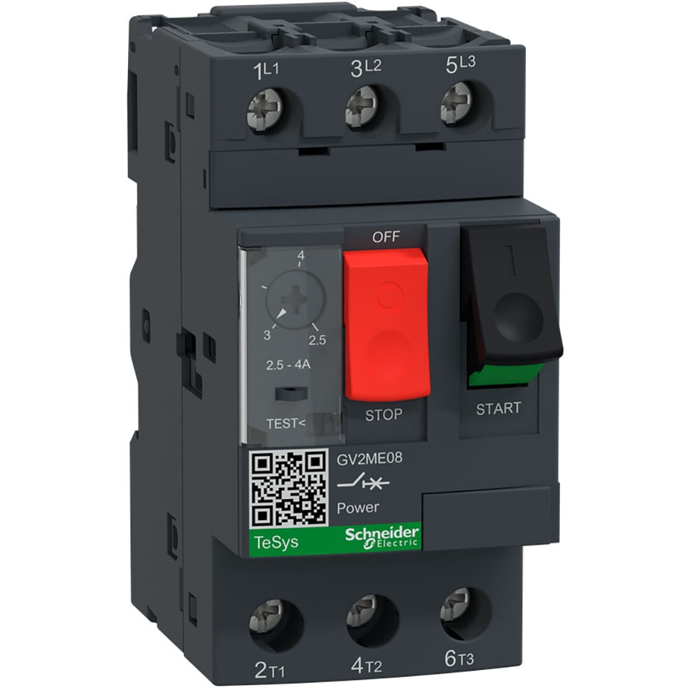 Schneider Electric - GV2ME08 - TeSys GV2 Thermal Magnetic Motor Protection  Circuit Breaker; 4A; 3 Pole; 690 VAC - Allied Electronics & Automation
