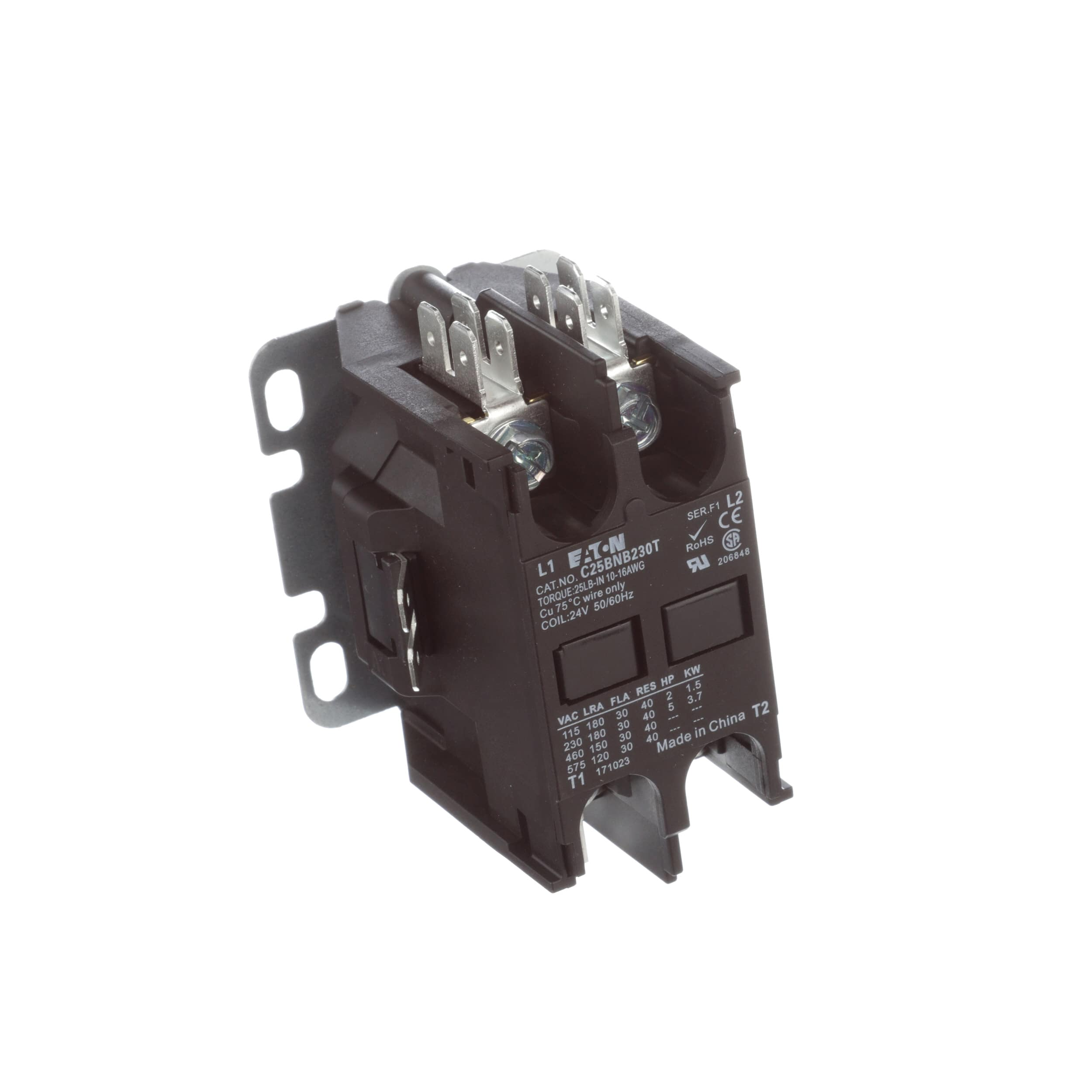 Eaton Cutler Hammer C25bnb230t Contactor Dp 2 Pole 30a Wiring Ac 2pole 24vac Coil Allied Electronics Automation