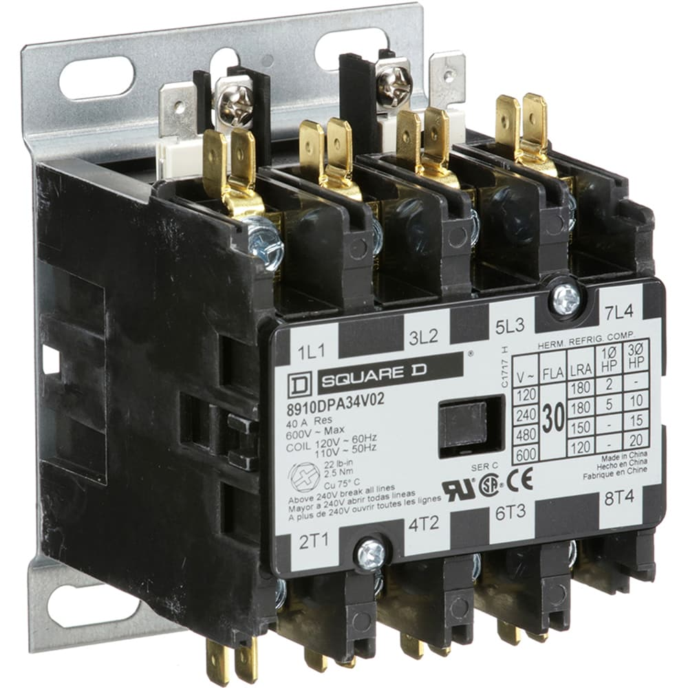 Square D 8910dpa34v02 Contactor Dp 4pst No 30a Ctrl V 120ac Dc Reversing Relay Wiring Diagram Hecho 10hp230vac 15hp460 575vac Allied Electronics Automation