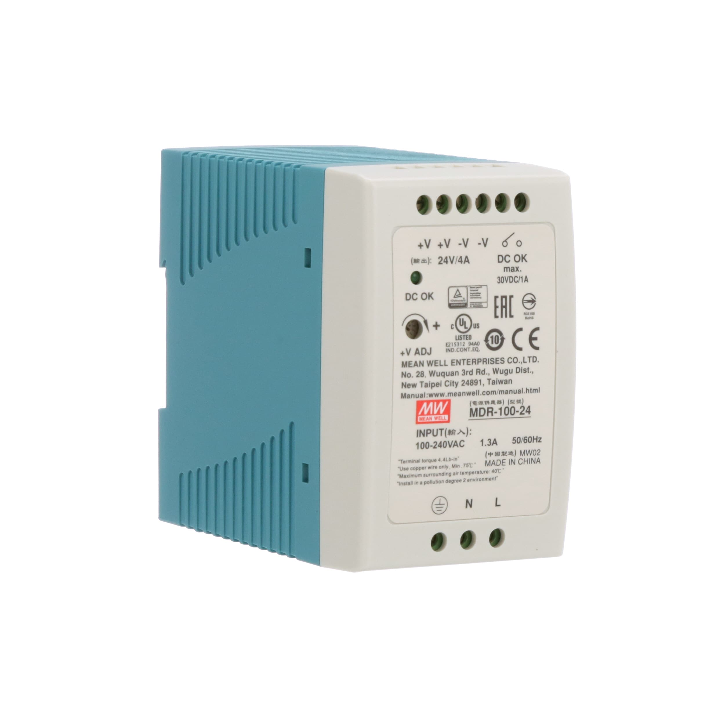 Mean Well USA - MDR-100-24 - Power Supply; AC-DC; 24V; 4A; 100-264V ...
