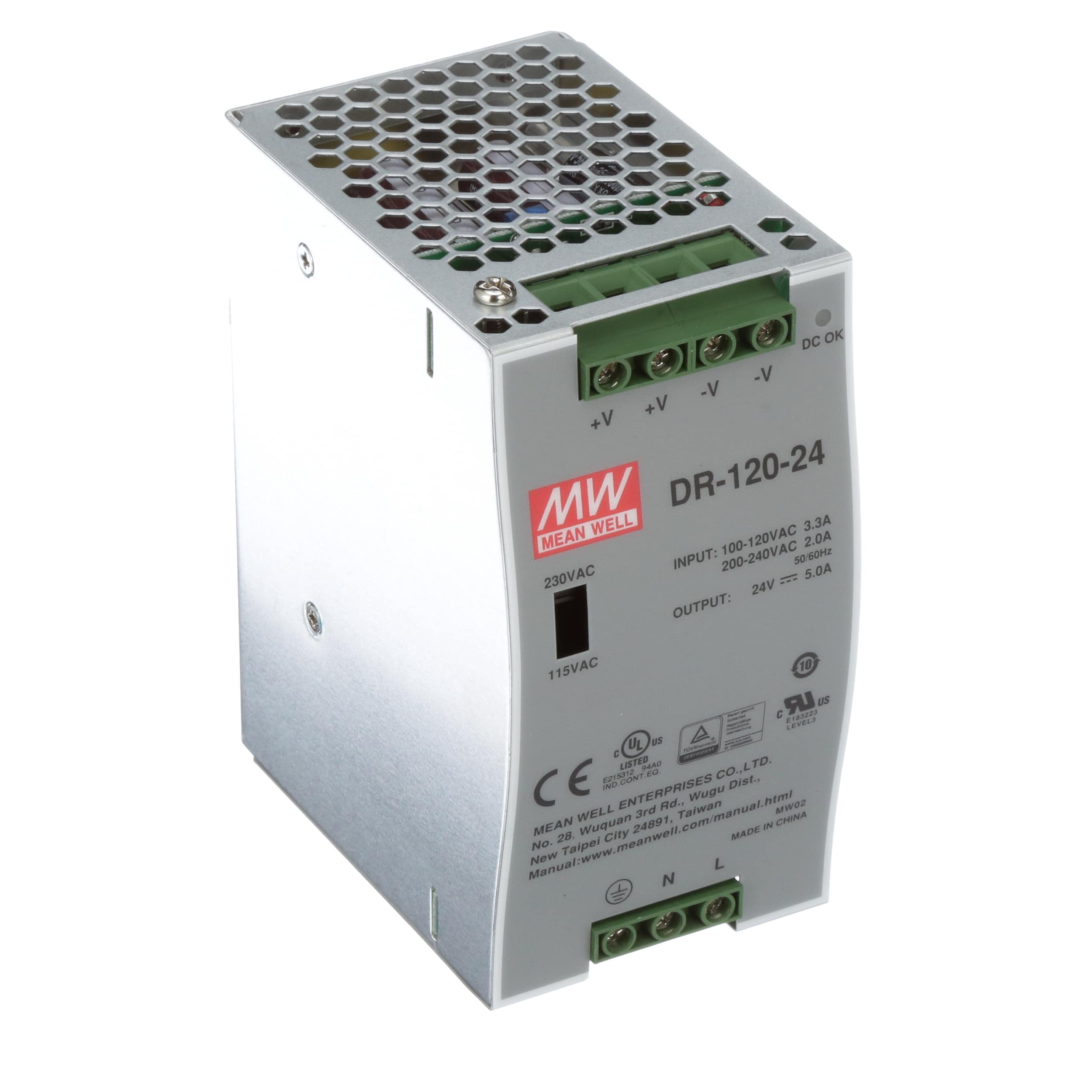 Mean Well Usa Dr 120 24 Power Supply Ac Dc 24v 5a 88 132 176 Vdc Dip Reed Relay All Electronics Corp 264v In Enclosed Din Rail 120w Series Allied Automation