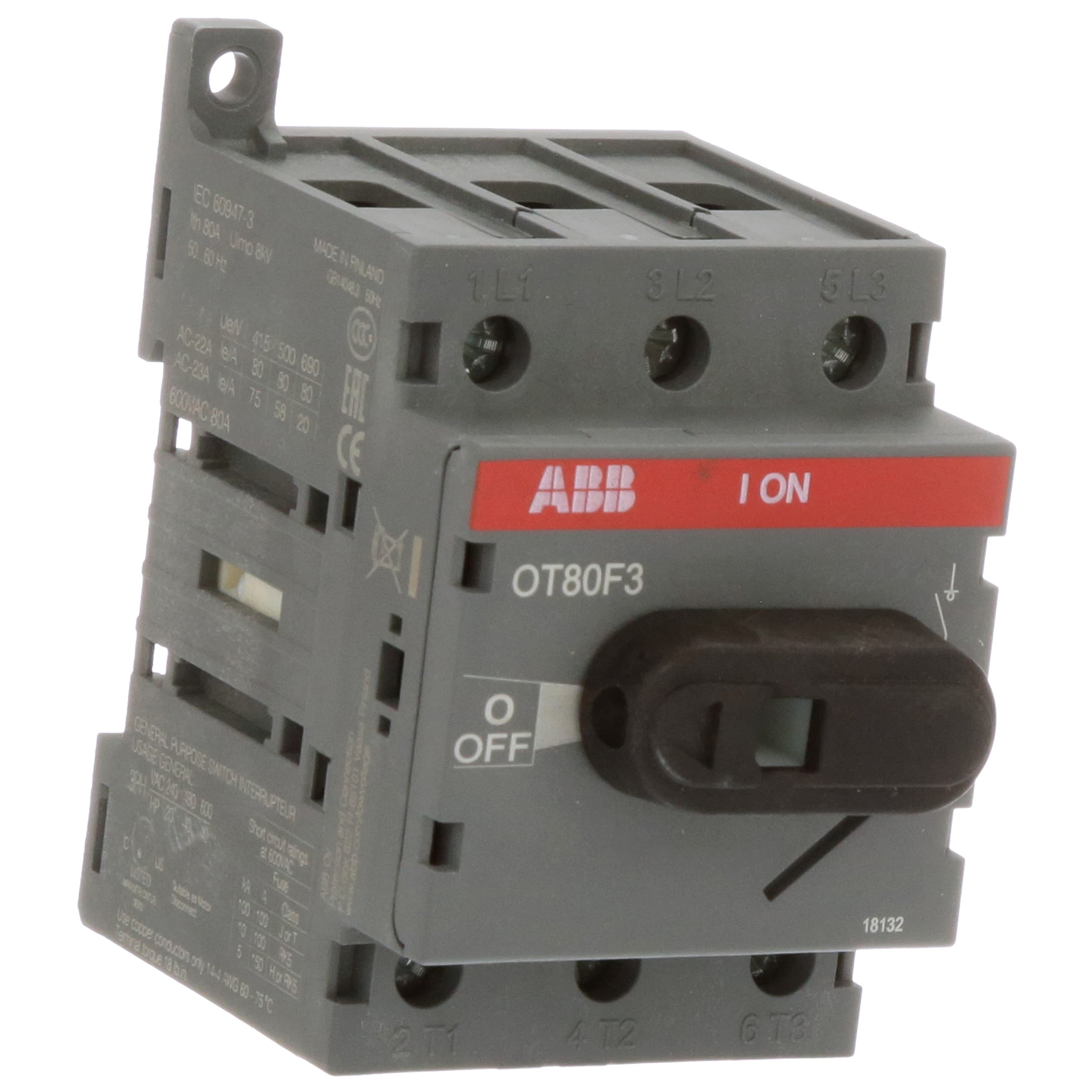 ABB - OT80F3 - DISCONNECT NON-FUSIBLE SWITCH; 3P; 80A; UL508 ...