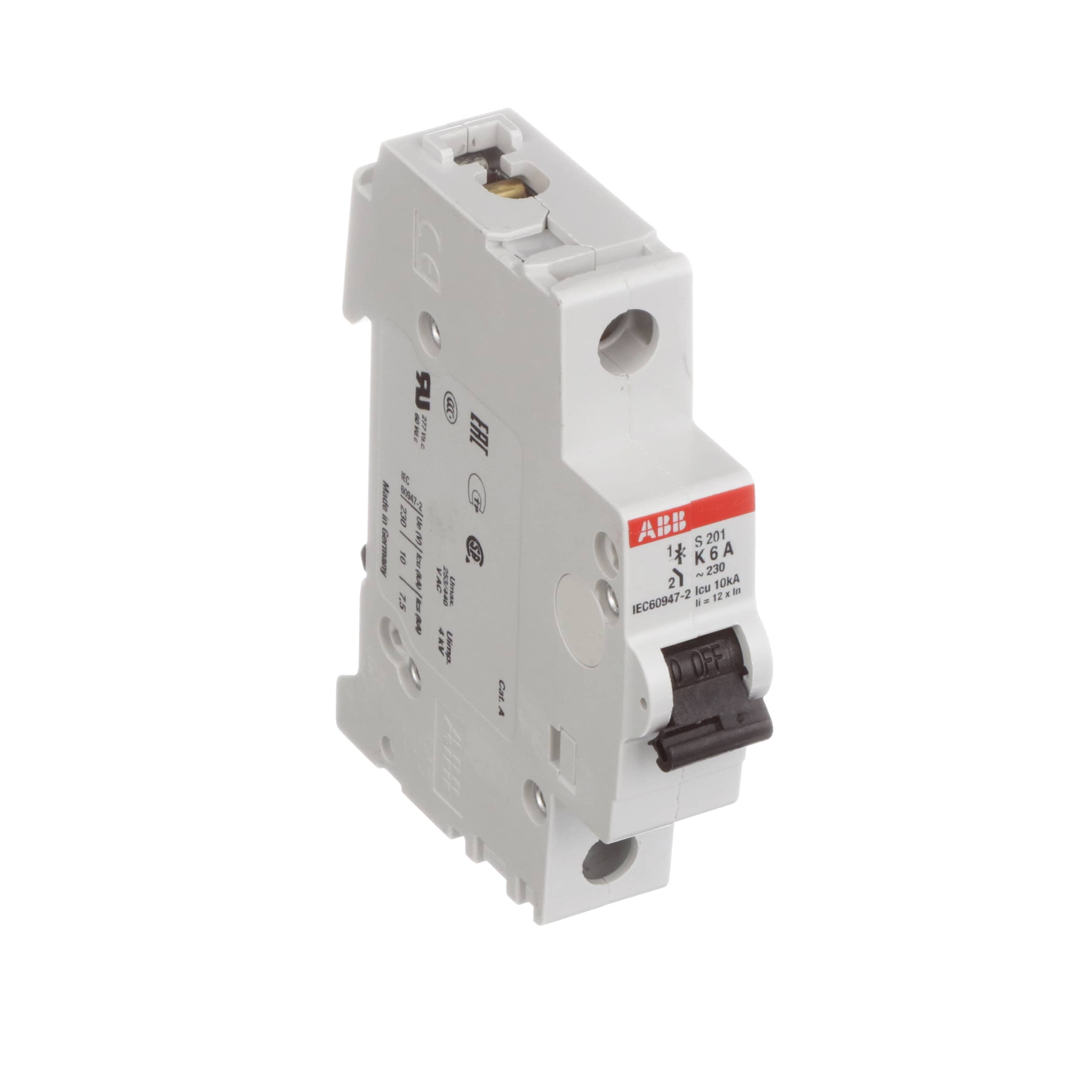Abb S201 K6 Circuit Breaker Supplementary K Curve 1 Pole 6a Identification Labels 480y 277 Vac Ul1077 Din Allied Electronics Automation