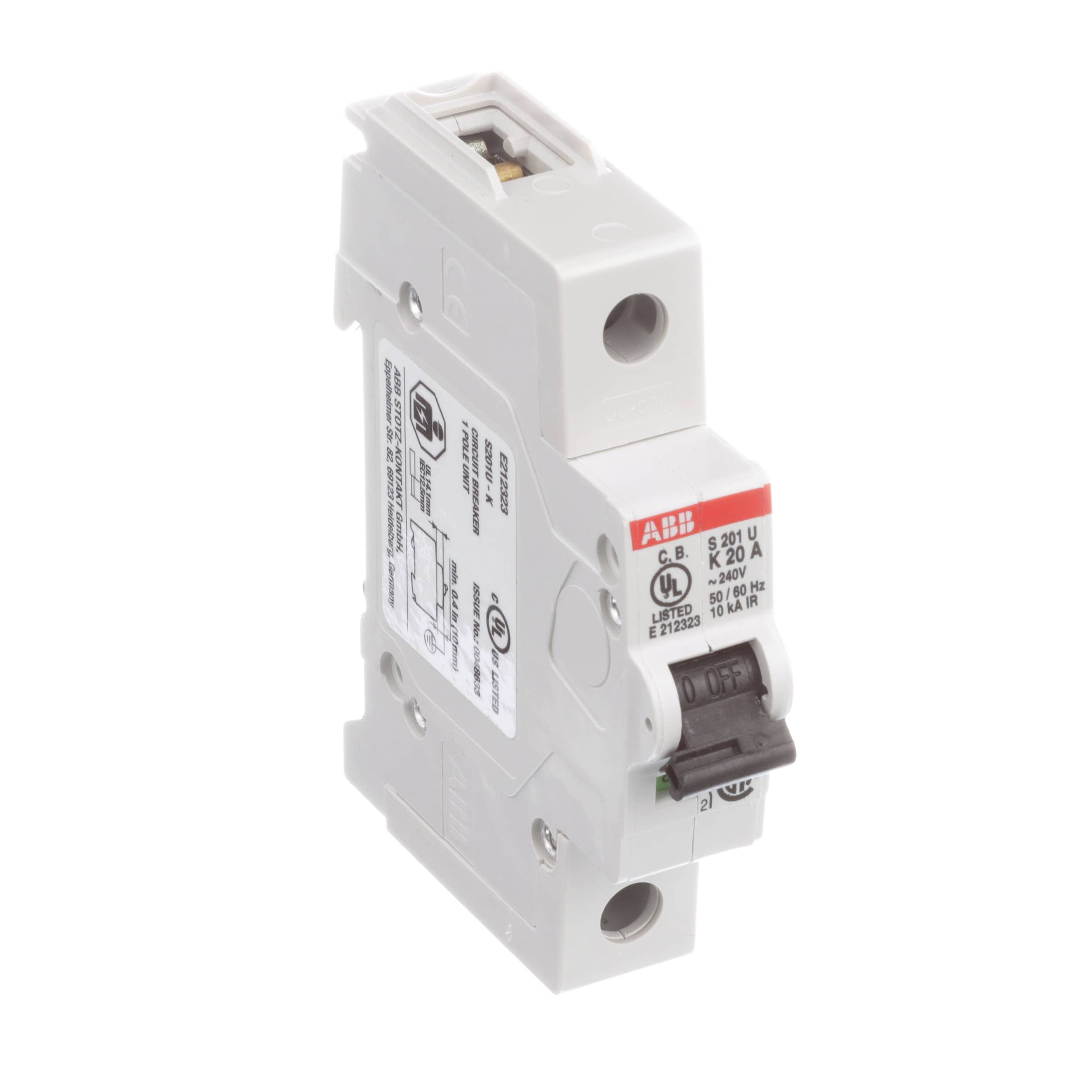 Abb S201u K20 Circuit Breaker Branch Circ Protection K Curve Under Current Relay 1 P 20a 10ka 240vac Ul489 Allied Electronics Automation