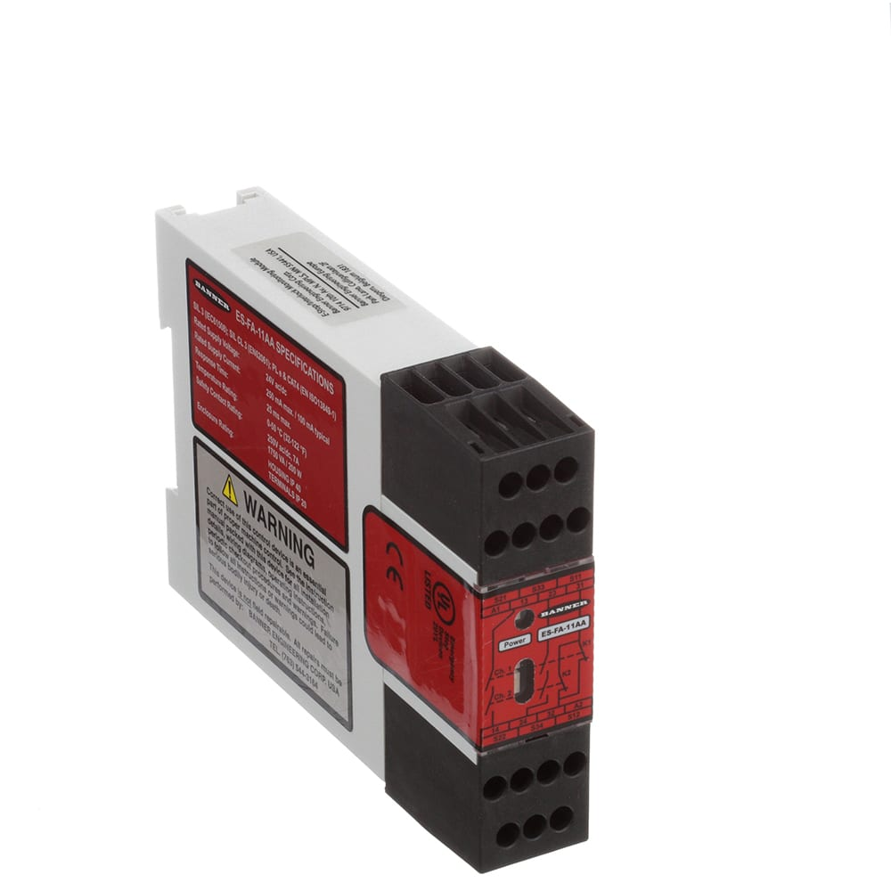 Banner Engineering - ES-FA-11AA - Safety Relay; E-Stop; 22.5mm; 2-NO on safety contactor wiring, sensor wiring, fuse box wiring, safety relays basics, safety reading glasses, safety strobe lights, terminal block wiring, starter wiring, 96 impala ss neutral safety wiring, switch wiring, safety relays explained, transducer wiring, safety pressure relief valve,
