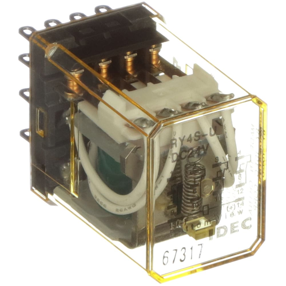 IDEC Corporation - RY4S-UDC24V - Relay; E-Mech; Gen Purp; 4PDT; Cur-Rtg 5A;  Ctrl-V 24DC; Vol-Rtg 240AC; Plug-In/Solder - Allied Electronics & Automation