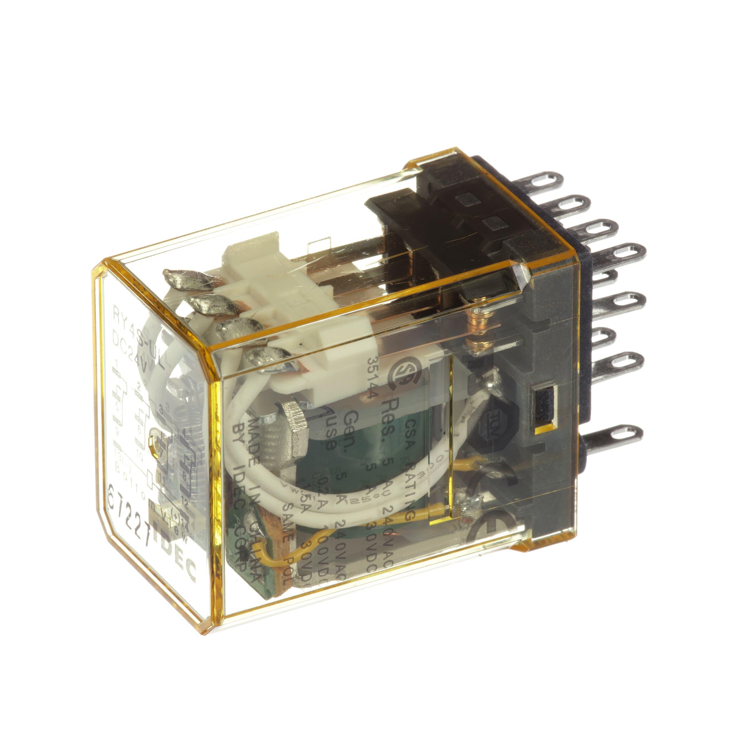 IDEC Corporation - RY4S-ULDC24V - Relay; E-Mech; Gen Purp; 4PDT; Cur-Rtg  5A; Ctrl-V 24DC; Vol-Rtg 240AC; Plug-In/Solder - Allied Electronics &  Automation