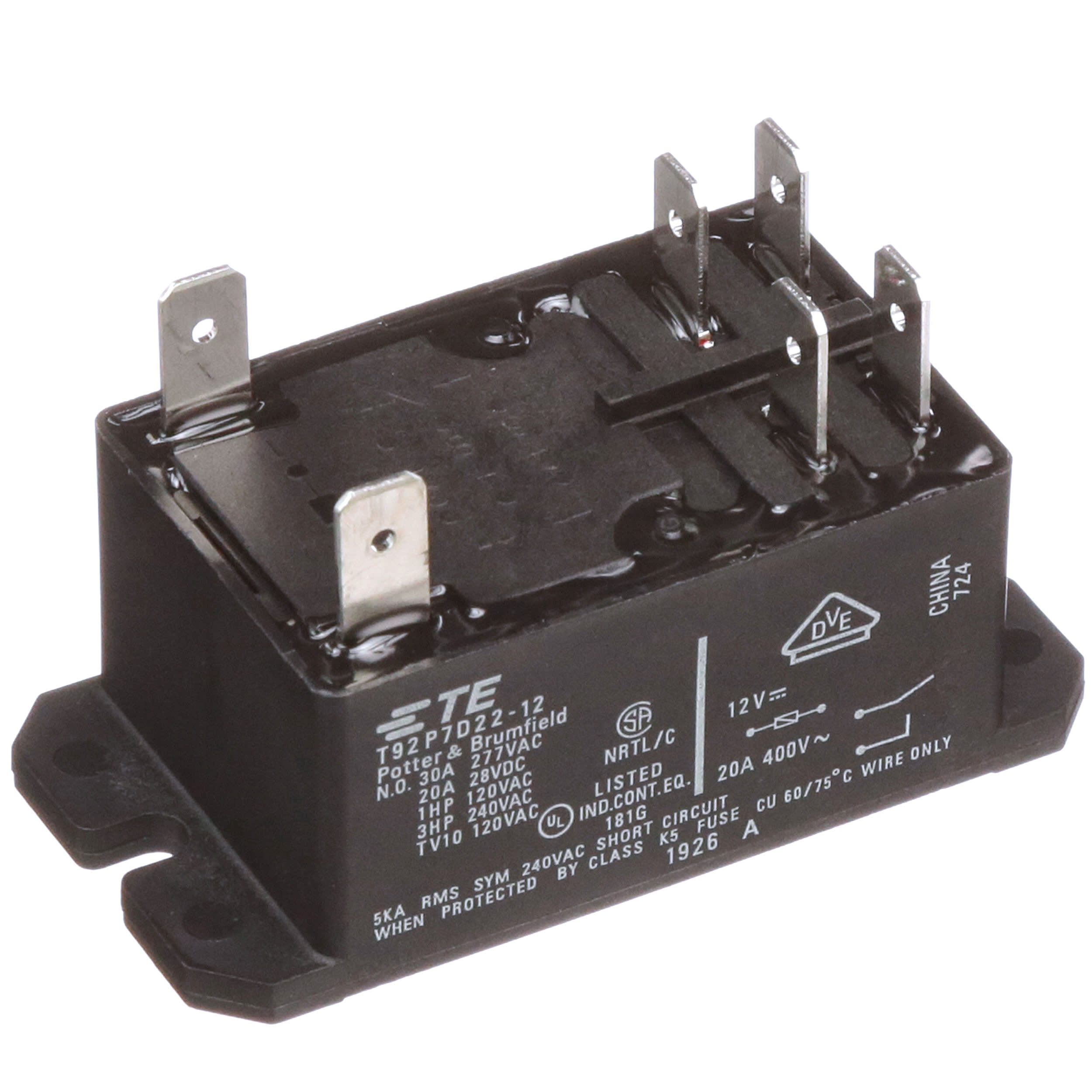 Te Connectivity T92p7d22 12 High Power Pcb Relay 30a 12vdc Dpdt Schematic Symbol Safety Relays Dpst Panel Moun T Quick Connect Term Allied Electronics Automation