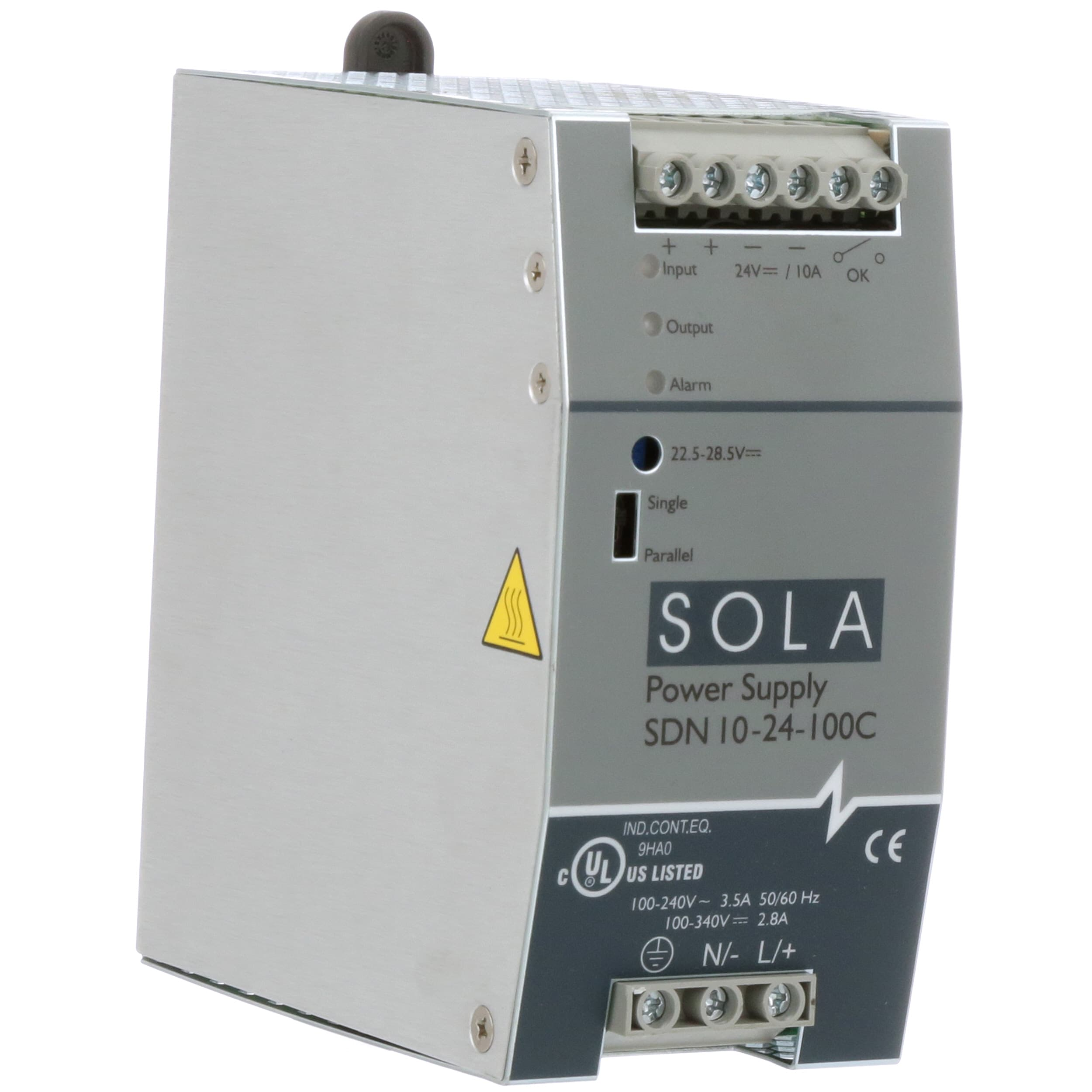 Solahd Sdn10 24 100c Power Supply Ac Dc 24v 10a 85 264v In Telephone Ring Generator Using Switching Enclosed Din Rail Pfc 240w Sdn Series Allied Electronics Automation