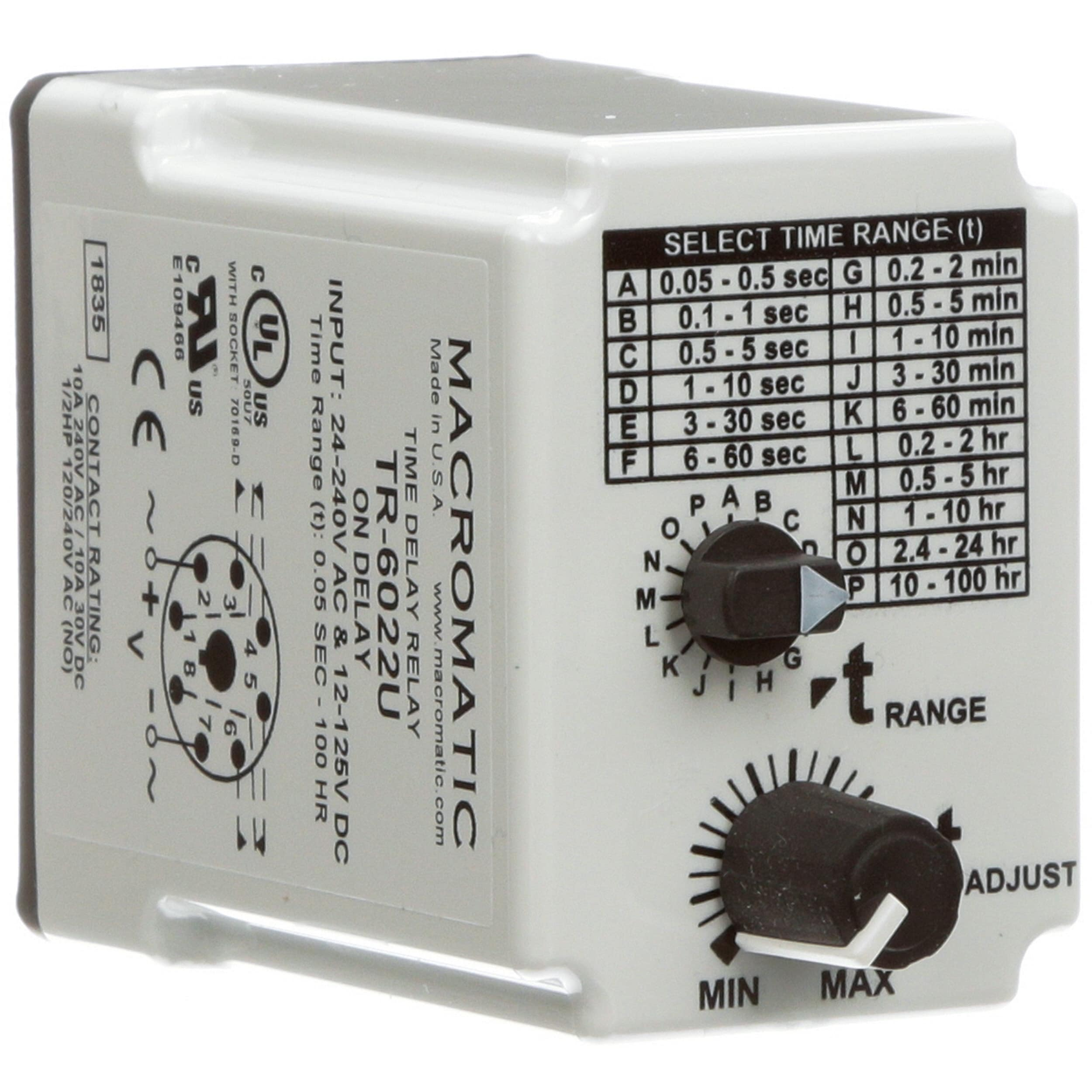 Macromatic Tr 6022u Time Delay Relay Plug In On 24 A C Compressor Wiring Diagram Pot 240vac 12 125vdc 005s 100h Allied Electronics Automation