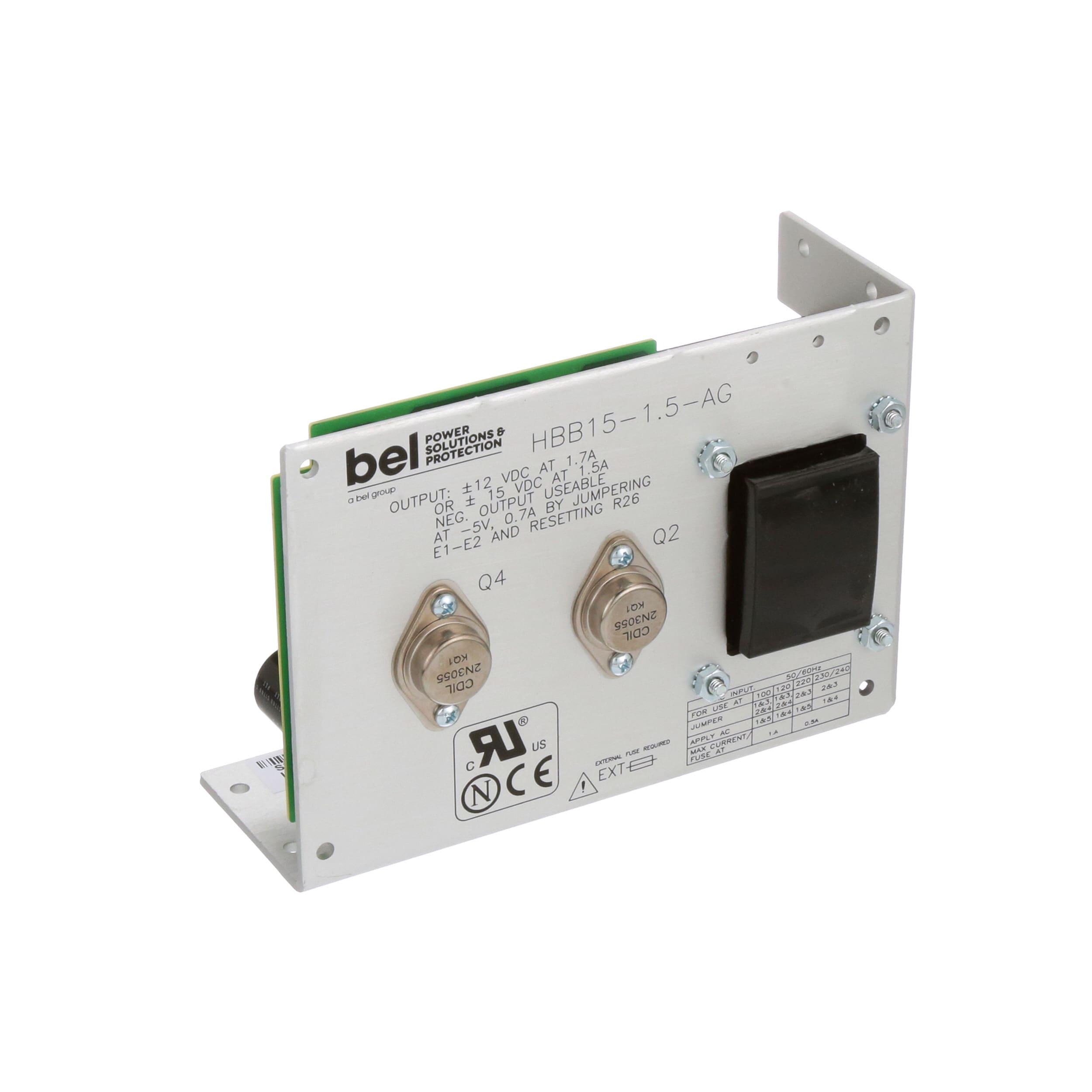 15V@1.5A; 100-264V in; Open Frame; Panel Mount; Linear Power Supply; AC-DC; 15V@1.5A Bel Power Solutions HBB15-1.5-AG