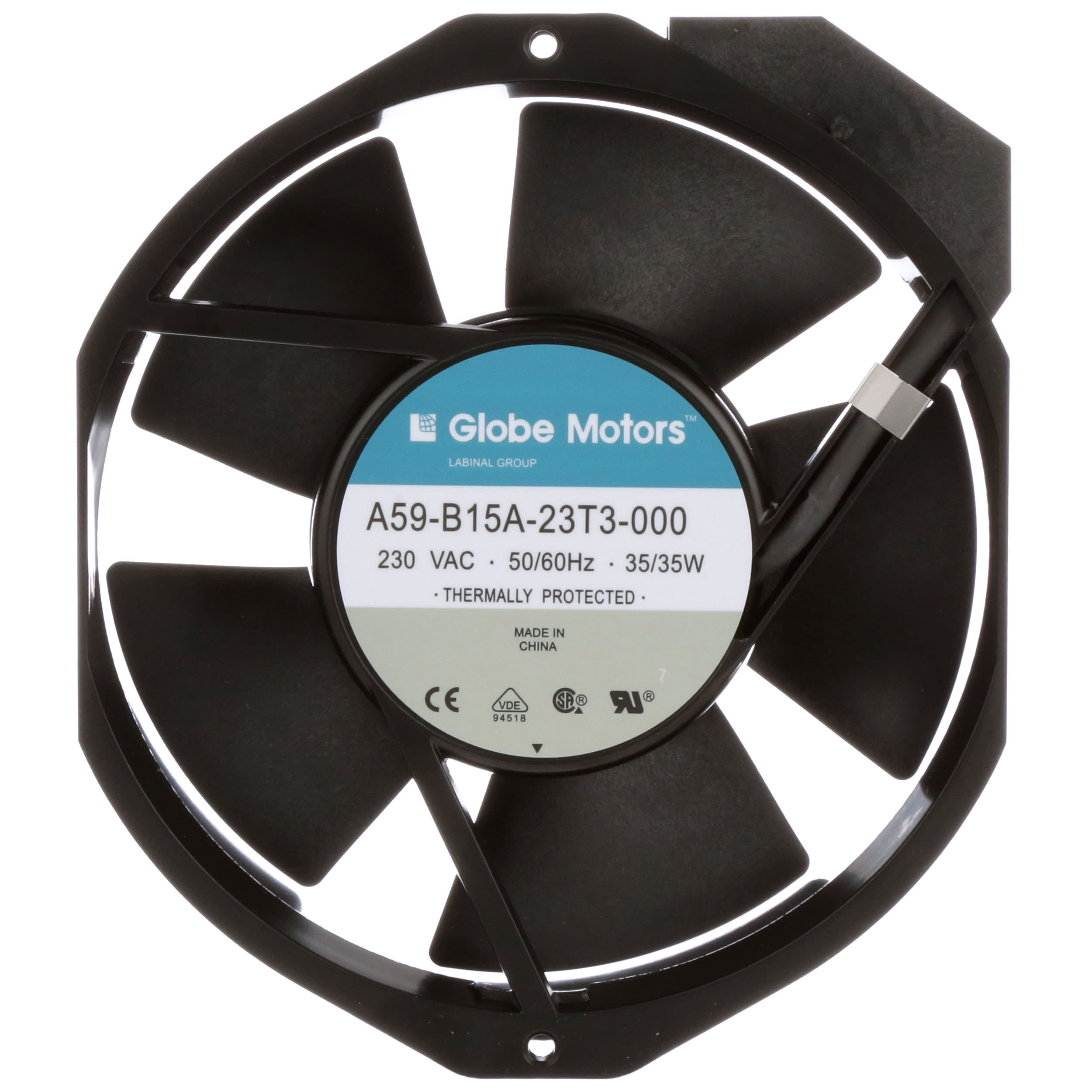 Fan; AC; 230V; 120x120x38mm; Sq; 88//102CFM; 11//10W; 37//41dBA; 2600RPM; Terminals Globe Motors A47-B15A-23T2-100