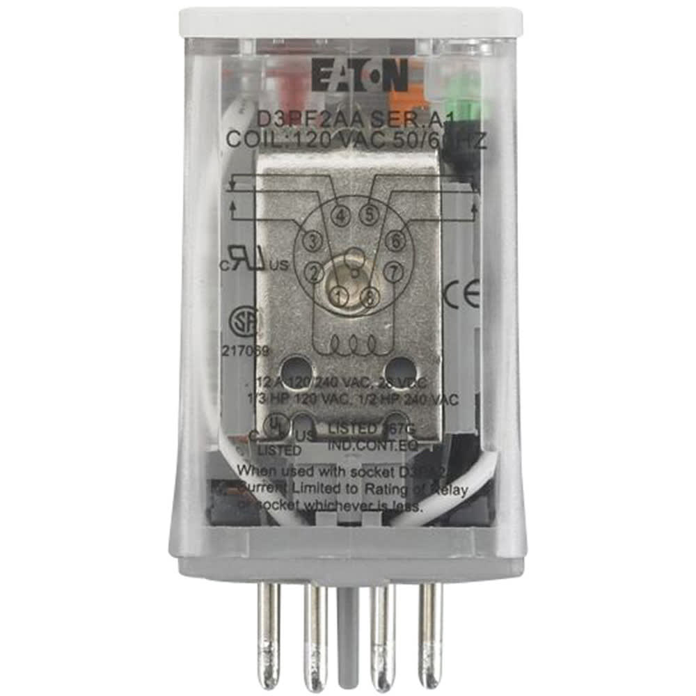 Eaton - Cutler Hammer - D3PF2AA - Relay; DPDT; full featured; 12A; 120VAC;  8 pin octal - Allied Electronics & AutomationAllied Electronics