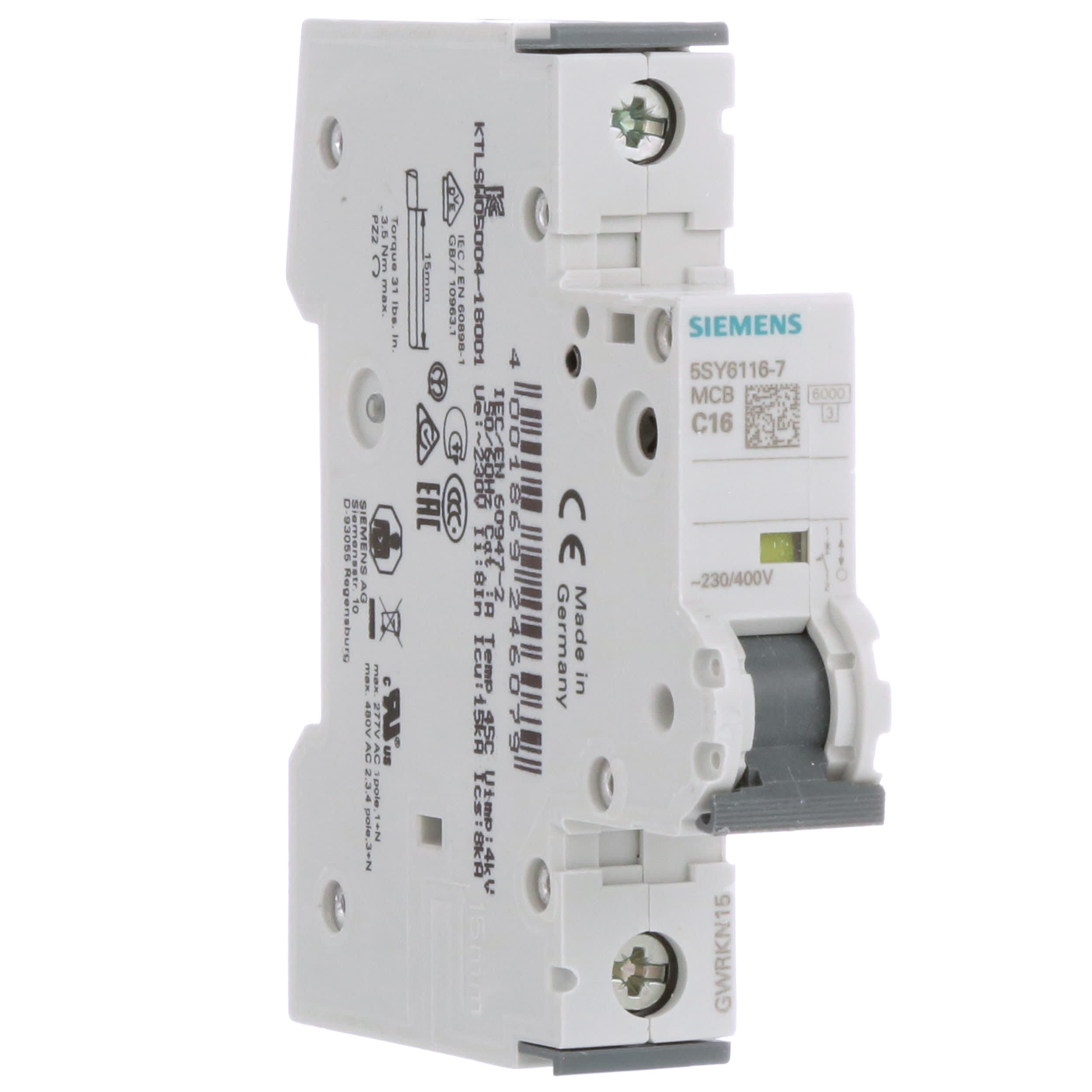 UL 1077 Rated 3 Pole Breaker Neutral 16 Ampere Maximum Tripping Characteristic C Siemens 5SY66167 Supplementary Protector