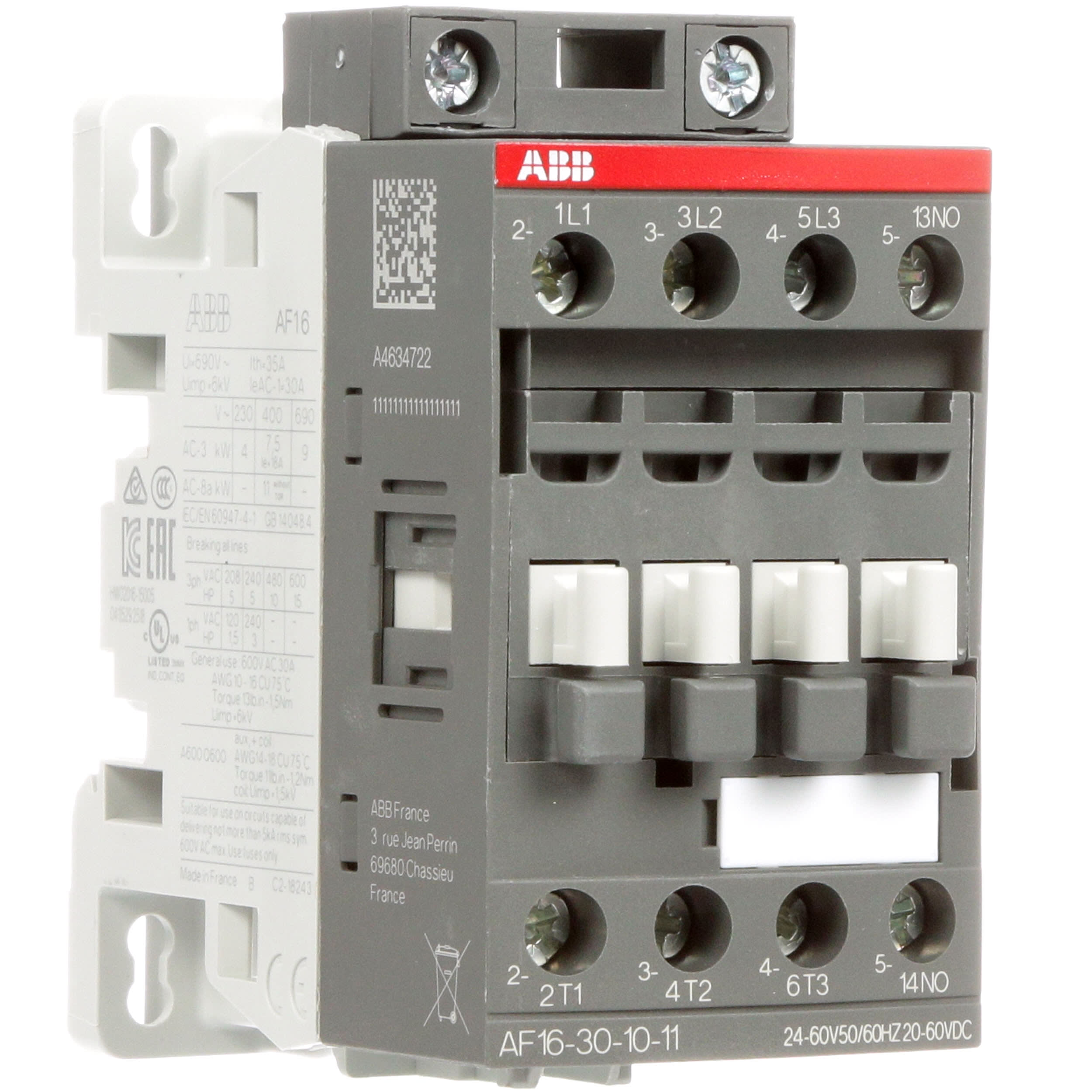 [SODI_2457]   ABB - AF16-30-10-11 - AF16 3 Pole Contactor; 30 A; 7.5 kW; 20to 60 V dc; 24  to 60 V ac Coil - Allied Electronics & Automation | Abb 145 30 Contactor Wiring Diagram |  | Allied Electronics