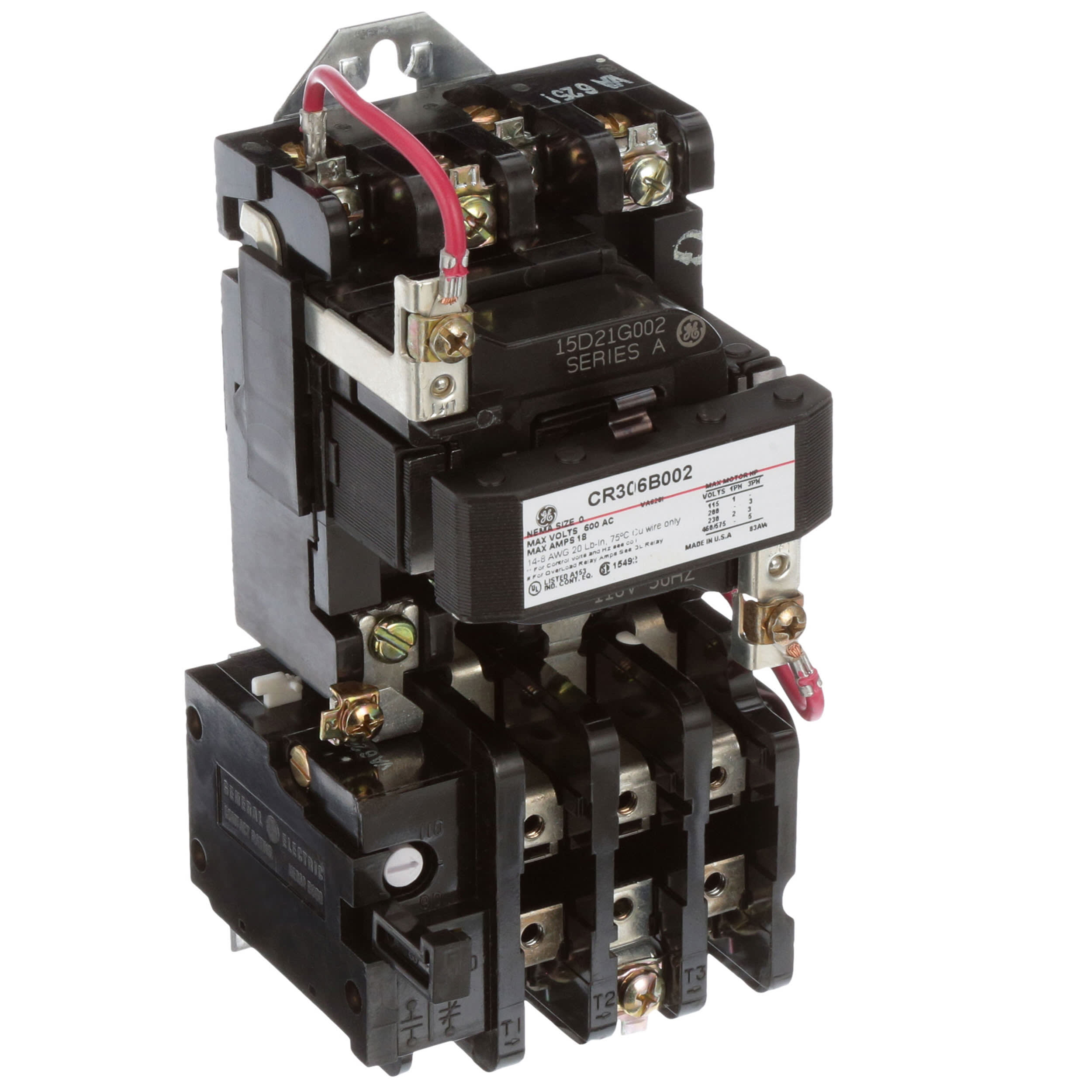 Industrial Connections & Solutions GE - CR306B002 - Starter, Three-Phase,  Magnetic, Open, 115-120V, 18A, NEMA 0 - Allied Electronics & Automation Allied Electronics