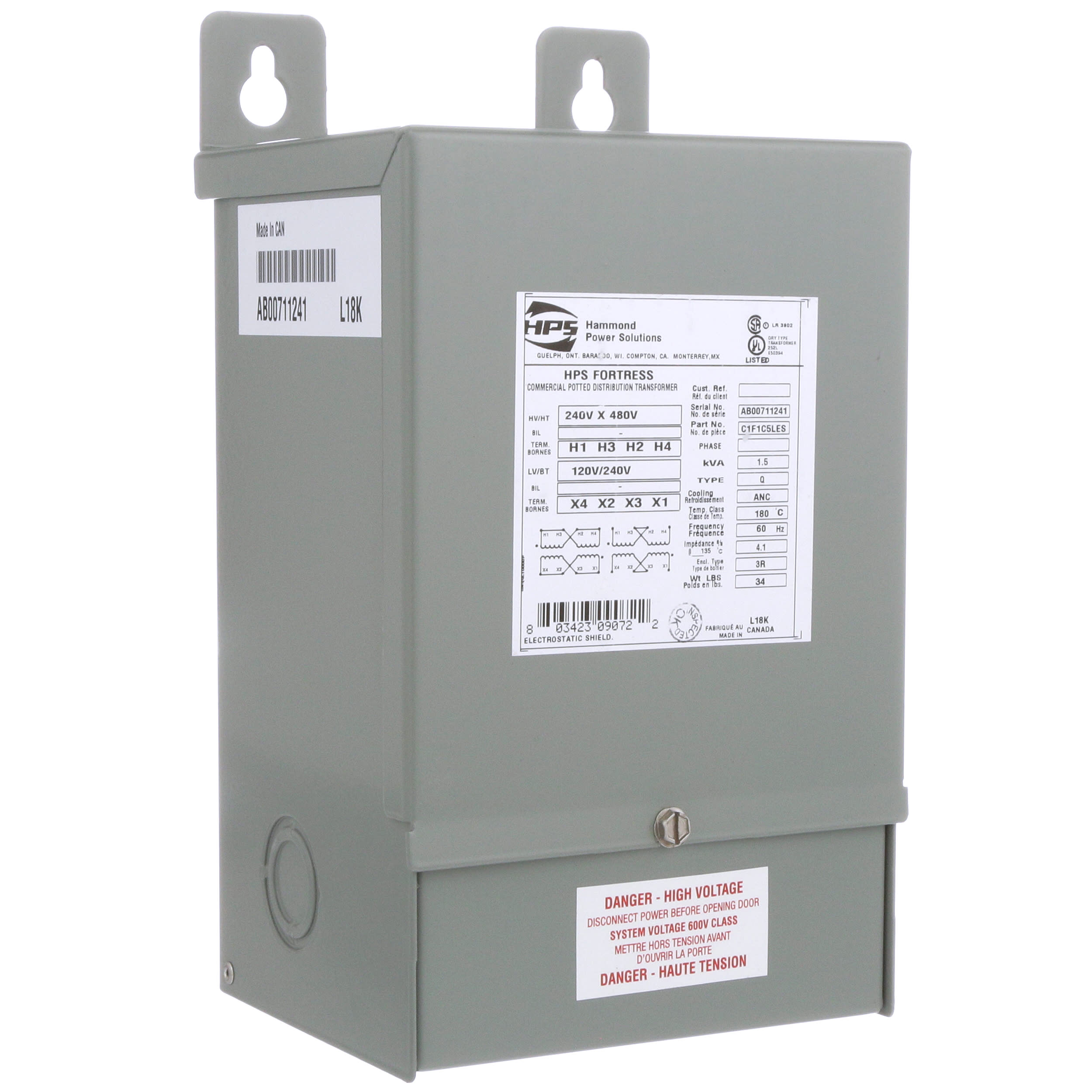 Hammond Power Solutions - C1F1C5LES - Transformer; Distribution ... 480 to 240 3 phase transformer wiring Allied Electronics